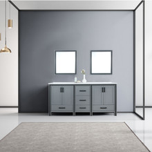 """Lexora Ziva 72"""" Dark Grey Double Vanity, Cultured Marble Top, White Square Sink and 30"""" Mirrors"""
