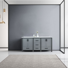 """Lexora Ziva 72"""" Dark Grey Double Vanity, Cultured Marble Top, White Square Sink and no Mirror"""