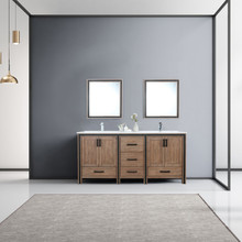 """Lexora Ziva 72"""" Rustic Barnwood Double Vanity, Cultured Marble Top, White Square Sink and 30"""" Mirrors w/ Faucet"""
