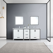 """Lexora Ziva 80"""" White Double Vanity, Cultured Marble Top, White Square Sink and 30"""" Mirrors w/ Faucet"""