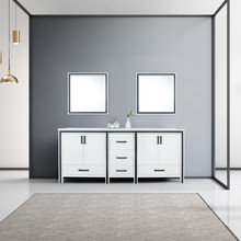 """Lexora Ziva 80"""" White Double Vanity, Cultured Marble Top, White Square Sink and 30"""" Mirrors"""