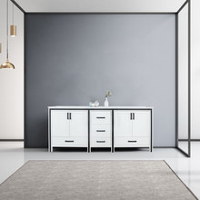 """Lexora Ziva 80"""" White Double Vanity, Cultured Marble Top, White Square Sink and no Mirror"""