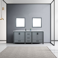 """Lexora Ziva 80"""" Dark Grey Double Vanity, Cultured Marble Top, White Square Sink and 30"""" Mirrors"""