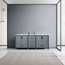 """Lexora Ziva 80"""" Dark Grey Double Vanity, Cultured Marble Top, White Square Sink and no Mirror"""