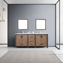 """Lexora Ziva 80"""" Rustic Barnwood Double Vanity, Cultured Marble Top, White Square Sink and 30"""" Mirrors w/ Faucet"""
