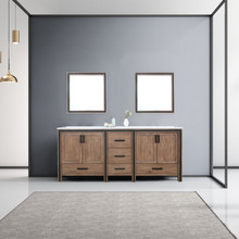"""Lexora Ziva 80"""" Rustic Barnwood Double Vanity, Cultured Marble Top, White Square Sink and 30"""" Mirrors"""