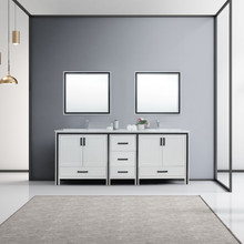 """Lexora Ziva 84"""" White Double Vanity, Cultured Marble Top, White Square Sink and 34"""" Mirrors w/ Faucet"""