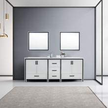 """Lexora Ziva 84"""" White Double Vanity, Cultured Marble Top, White Square Sink and 34"""" Mirrors"""