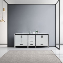 """Lexora Ziva 84"""" White Double Vanity, Cultured Marble Top, White Square Sink and no Mirror"""