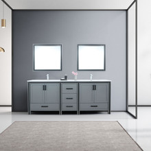 """Lexora Ziva 84"""" Dark Grey Double Vanity, Cultured Marble Top, White Square Sink and 34"""" Mirrors w/ Faucet"""