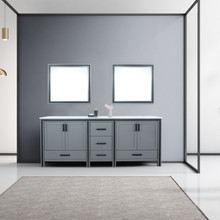 """Lexora Ziva 84"""" Dark Grey Double Vanity, Cultured Marble Top, White Square Sink and 34"""" Mirrors"""