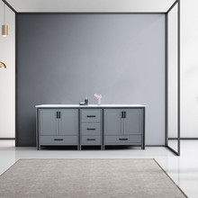 """Lexora Ziva 84"""" Dark Grey Double Vanity, Cultured Marble Top, White Square Sink and no Mirror"""