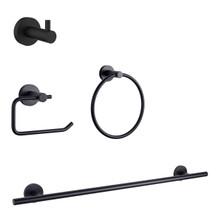 Lexora Bagno Nera 4-Piece Bathroom Accessory Set - Matte Black