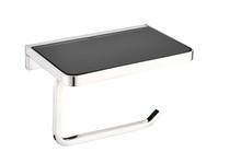 Lexora Bagno Bianca Stainless Steel Black Glass Shelf w/ Toilet Paper Holder - Chrome