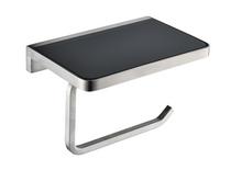 Lexora Bagno Bianca Stainless Steel Black Glass Shelf w/ Toilet Paper Holder - Brushed Nickel