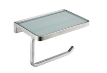 Lexora Bagno Bianca Stainless Steel White Glass Shelf w/ Toilet Paper Holder - Brushed Nickel