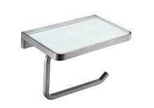 Lexora Bagno Bianca Stainless Steel White Glass Shelf w/ Toilet Paper Holder - Gun Metal