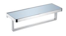 Lexora Bagno Bianca Stainless Steel White Glass Shelf w/ Towel Bar - Chrome - 14.17' '× 5'' × 4.13''