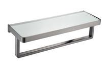Lexora Bagno Bianca Stainless Steel White Glass Shelf w/ Towel Bar - Brushed Nickel - 14.17' '× 5'' × 4.13''