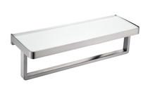 Lexora Bagno Bianca Stainless Steel White Glass Shelf w/ Towel Bar - Gun Metal - 14.17' '× 5'' × 4.13''