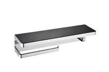 Lexora Bagno Bianca Stainless Steel Black Glass Shelf w/ Towel Bar & Robe Hook - Chrome