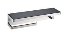 Lexora Bagno Bianca Stainless Steel Black Glass Shelf w/ Towel Bar & Robe Hook - Brushed Nickel