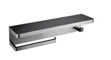 Lexora Bagno Bianca Stainless Steel Black Glass Shelf w/ Towel Bar & Robe Hook - Gun Metal