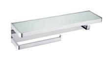 Lexora Bagno Bianca Stainless Steel White Glass Shelf w/ Towel Bar & Robe Hook - Chrome