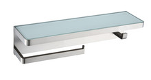 Lexora Bagno Bianca Stainless Steel White Glass Shelf w/ Towel Bar & Robe Hook - Brushed Nickel