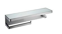 Lexora Bagno Bianca Stainless Steel White Glass Shelf w/ Towel Bar & Robe Hook - Gun Metal