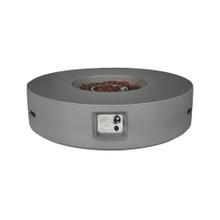 Lexora Brillare Outdoor Round Light Grey Gas Fire Pit Table w/ Round Burner Kit