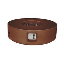 Lexora Brillare Outdoor Round Rustic Brown Gas Fire Pit Table w/ Round Burner Kit
