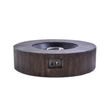 Lexora Gambara Outdoor Round Wood Textured Gas Fire Pit Table w/ Round Burner Kit