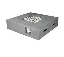 Lexora Brenta Outdoor Square Light Grey Gas Fire Pit Table w/ Round Burner Kit