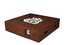 Lexora Brenta Outdoor Square Rustic Brown Gas Fire Pit Table w/ Round Burner Kit