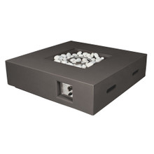 Lexora Brenta Outdoor Square Dark Grey Gas Fire Pit Table w/ Round Burner Kit