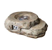 Lexora Kivi Outdoor Rock Textured Gas Fire Pit w/ Round Burner Kit