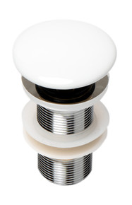 ALFI AB8055-W White Ceramic Mushroom Top Pop Up Drain for Sinks without Overflow