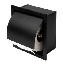ALFI ABTPC77-BLA Black Matte Stainless Steel Recessed Toilet Paper Holder with Cover