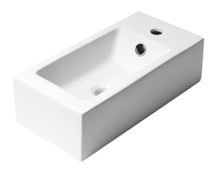 """ALFI ABC116 White 20"""" Small Rectangular Wall Mounted Ceramic Sink with Faucet Hole"""