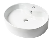 """ALFI ABC910 White 22"""" Oval Above Mount Ceramic Sink with Faucet Hole"""