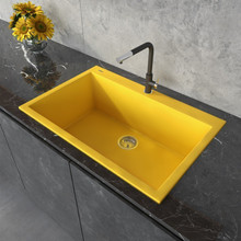 Ruvati 33 x 22 inch Granite Composite Drop-in Topmount Kitchen Sink Single Bowl - Midas Yellow - RVG1080YL