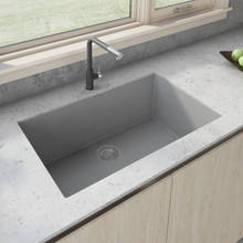 Ruvati 33 x 19 inch Granite Composite Undermount Single Bowl Kitchen Sink - Silver Gray - RVG2080GR