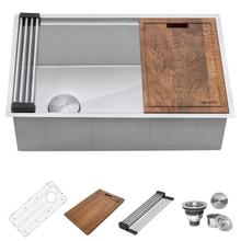 Ruvati RVH8570 Ruvati 27-inch Workstation Slope Bottom Offset Drain Undermount 16 Gauge Kitchen Sink