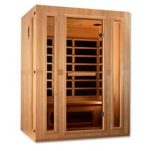 Golden Designs  Maxxus Trinity Dual Tech 3 person Low EMF FAR Infrared Sauna - Canadian Hemlock
