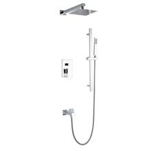 "Lexora Cero Tub & Shower Faucet Set, 8"" Square Rain Shower and Handheld - Chrome"