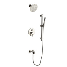 "Lexora Luviah Tub & Shower Faucet Set, 8"" Round Rain Shower and Handheld, Brushed Nickel"