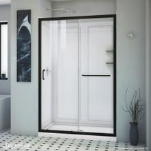 DreamLine Infinity-Z 36 in. D x 48 in. W x 76 3/4 in. H Clear Sliding Shower Door in Satin Black, Center Drain Base, Backwall