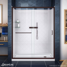DreamLine Infinity-Z 30 in. D x 60 in. W x 76 3/4 in. H Clear Sliding Shower Door in Oil Rubbed Bronze, Right Drain and Backwalls