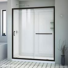 DreamLine Infinity-Z 30 in. D x 60 in. W x 76 3/4 in. H Clear Sliding Shower Door in Satin Black, Right Drain and Backwalls